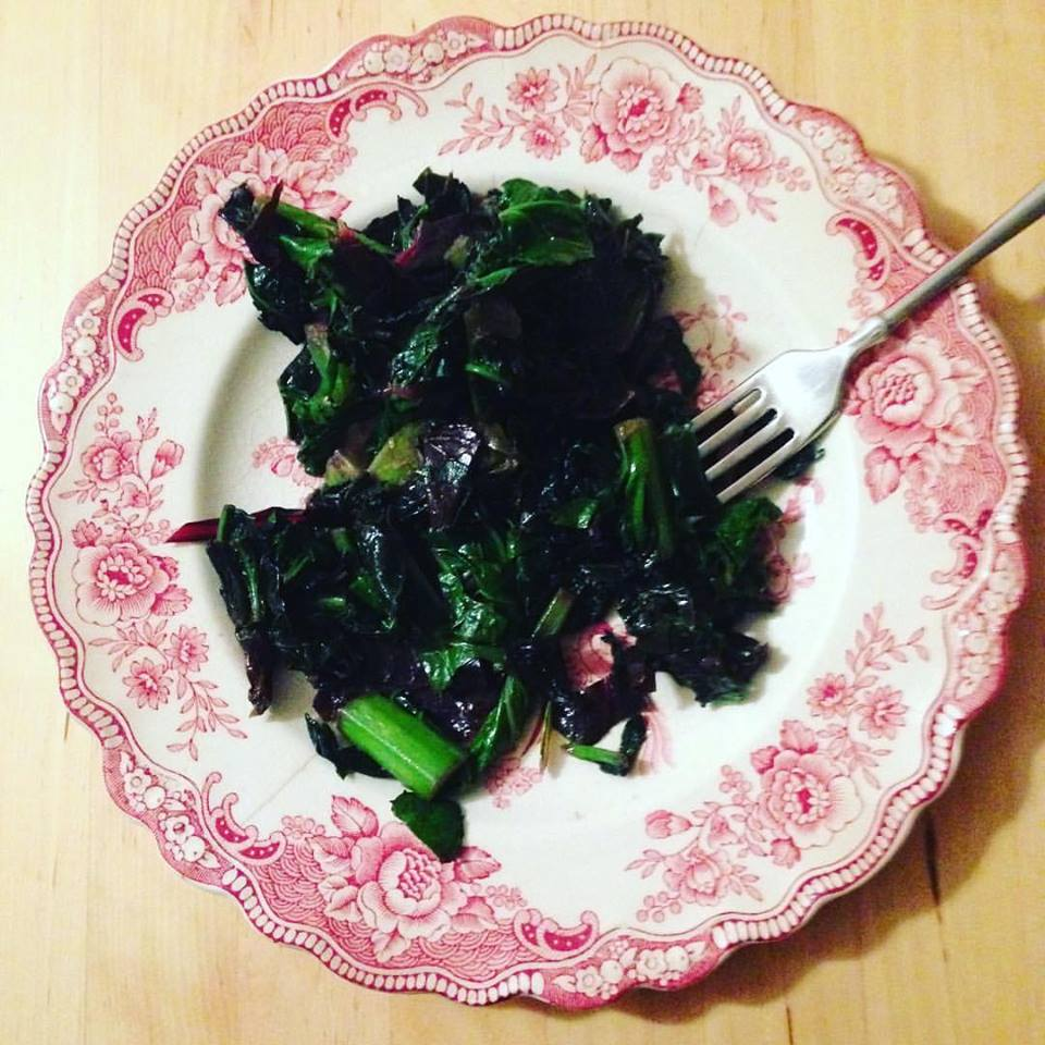 When did I become someone who takes pictures of my plate? I just get so proud of growing things, like these greens from our Rosemont elementary garden. And grateful.